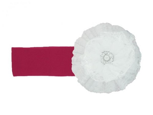 Raspberry Soft Headband with White Lace Rose