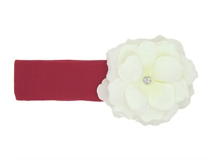 Raspberry Soft Headband with White Small Rose