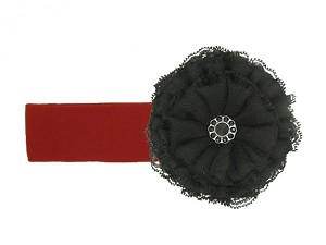 Red Soft Headband with Black Lace Rose