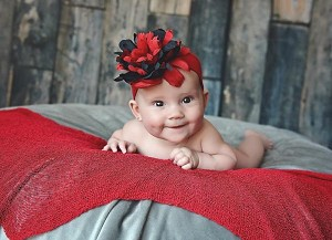 Red Soft Headband with Black Red Small Peony