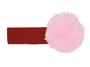 Red Soft Headband with Pale Pink Small Regular Marabou
