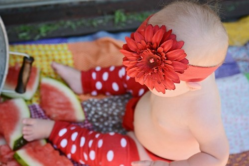 Red Soft Headband with Red Daisy