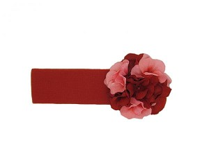 Red Soft Headband with Red Pink Small Geraniums