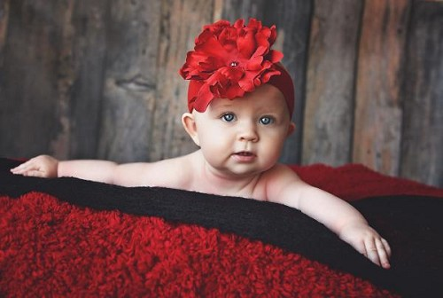 Red Soft Headband with Red Small Peony