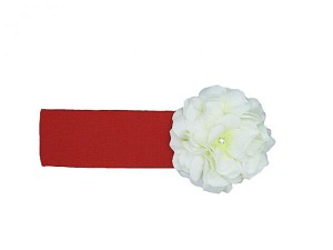 Red Soft Headband with White Small Geraniums