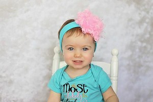 Teal Soft Headband with Candy Pink Small Curly Marabou
