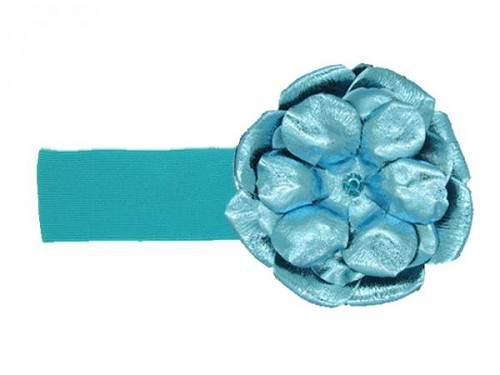 Teal Soft Headband with Metallic Teal Rose