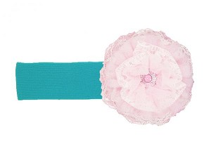 Teal Soft Headband with Pale Pink Lace Rose