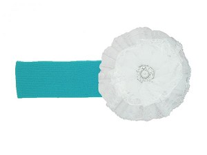 Teal Soft Headband with White Lace Rose