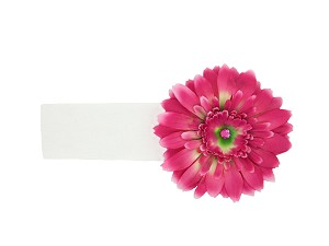 White Soft Headband with Candy Pink Daisy