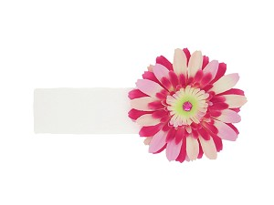 White Soft Headband with Pink Raspberry Daisy