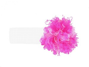 White Soft Headband with Pink Raspberry Small Curly Marabou
