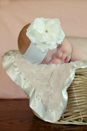 White Soft Headband with White Small Rose