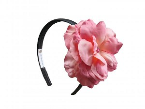Black Hard Headband with Candy Pink Large Rose