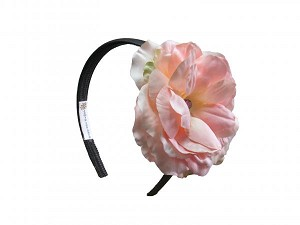 Black Hard Headband with Pale Pink Large Rose