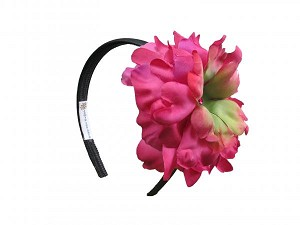 Black Hard Headband with Raspberry Large Peony