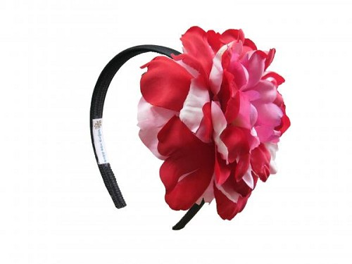 Black Hard Headband with Red Pink Large Peony