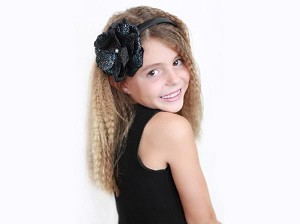 Black Hard Headband with Sequins Black Rose