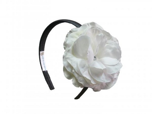 Black Hard Headband with White Large Rose