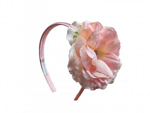 Candy Pink Hard Headband with Pale Pink Large Rose