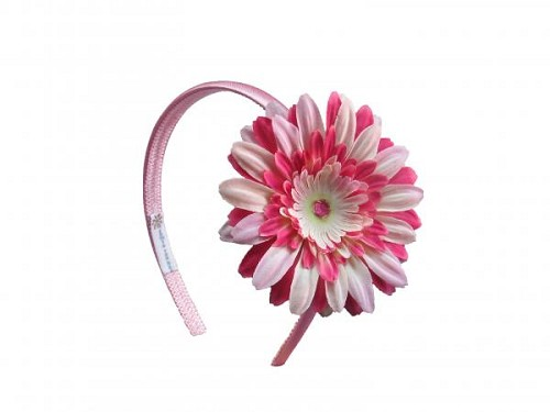 Candy Pink Hard Headband with Pink Raspberry Daisy