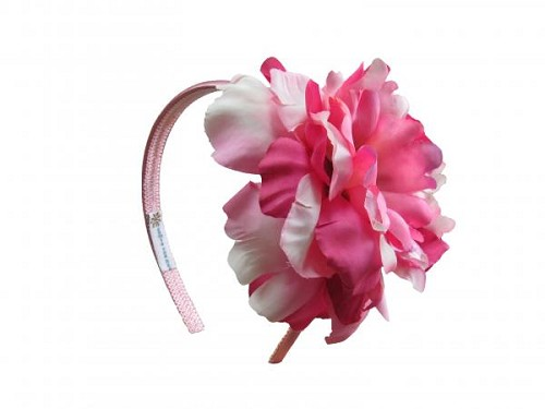 Candy Pink Hard Headband with Pink Raspberry Large Peony