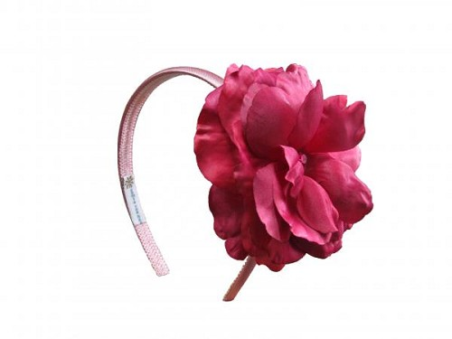 Candy Pink Hard Headband with Raspberry Large Rose