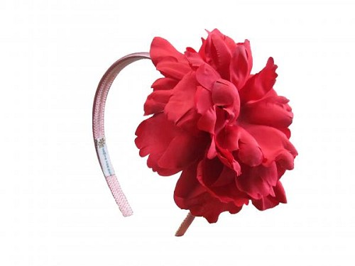 Candy Pink Hard Headband with Red Large Peony