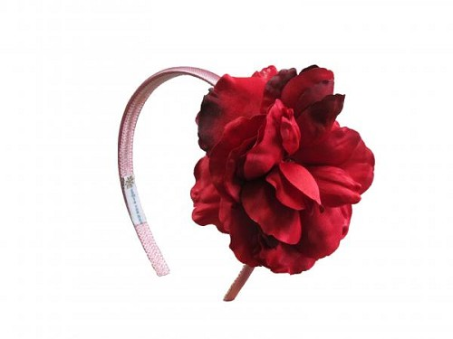 Candy Pink Hard Headband with Red Large Rose
