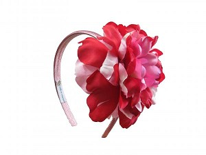 Candy Pink Hard Headband with Red Pink Large Peony