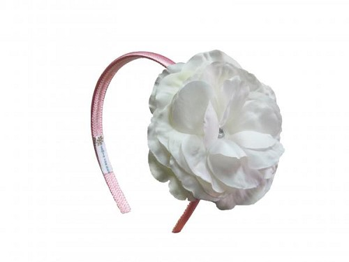 Candy Pink Hard Headband with White Large Rose