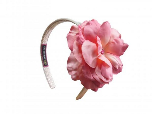 Gold Hard Headband with Candy Pink Large Rose