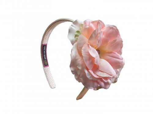 Gold Hard Headband with Pale Pink Large Rose