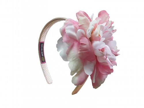 Gold Hard Headband with Pink White Large Peony