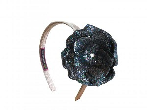 Gold Hard Headband with Sequins Black Rose