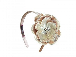 Gold Hard Headband with Sequins Gold Rose