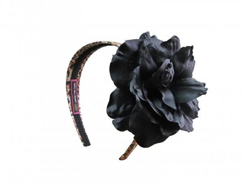 Leopard Hard Headband with Black Large Rose
