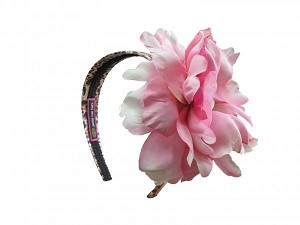 Leopard Hard Headband with Candy Pink Large Peony