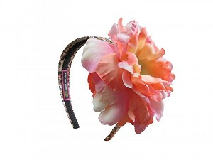 Leopard Hard Headband with Orange Pink Large Peony