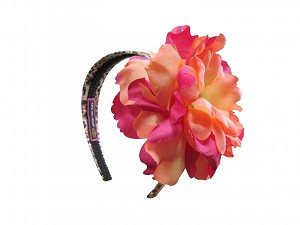 Leopard Hard Headband with Orange Raspberry Large Peony