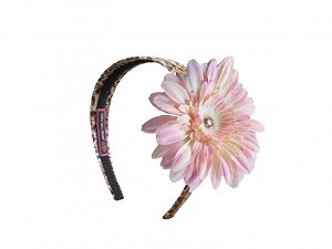 Leopard Hard Headband with Pale Pink Daisy