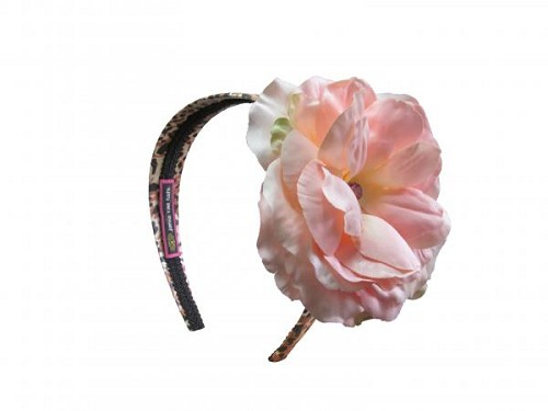 Leopard Hard Headband with Pale Pink Large Rose