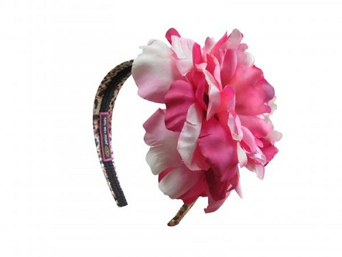 Leopard Hard Headband with Pink Raspberry Large Peony