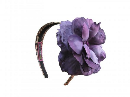 Leopard Hard Headband with Purple Large Rose