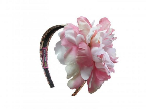 Leopard Hard Headband with Pink White Large Peony