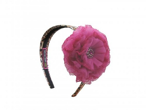Leopard Hard Headband with Raspberry Lace Rose