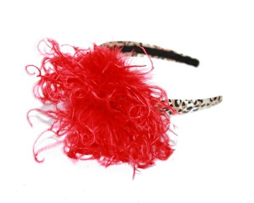 Leopard Hard Headband with Red Large Curly Marabou