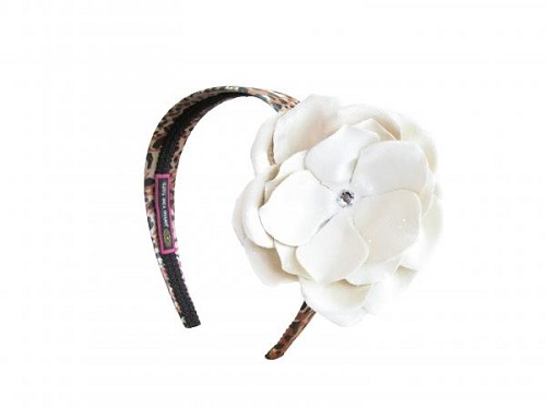 Leopard Hard Headband with Sequins Cream Rose