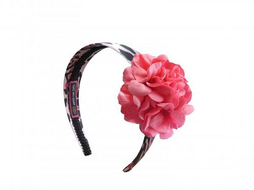 Pink Black Leopard Hard Headband with Candy Pink Small Geraniums
