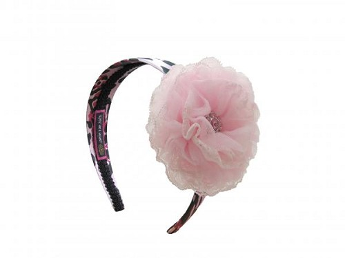 Pink Black Leopard Hard Headband with Pale Pink Lace Rose